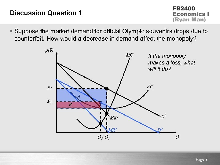 Discussion Question 1 § Suppose the market demand for official Olympic souvenirs drops due