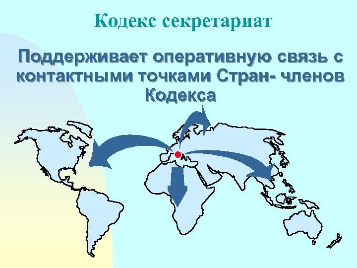 Кодекс секретариат Поддерживает оперативную связь с контактными точками Стран- членoв Кoдeкса