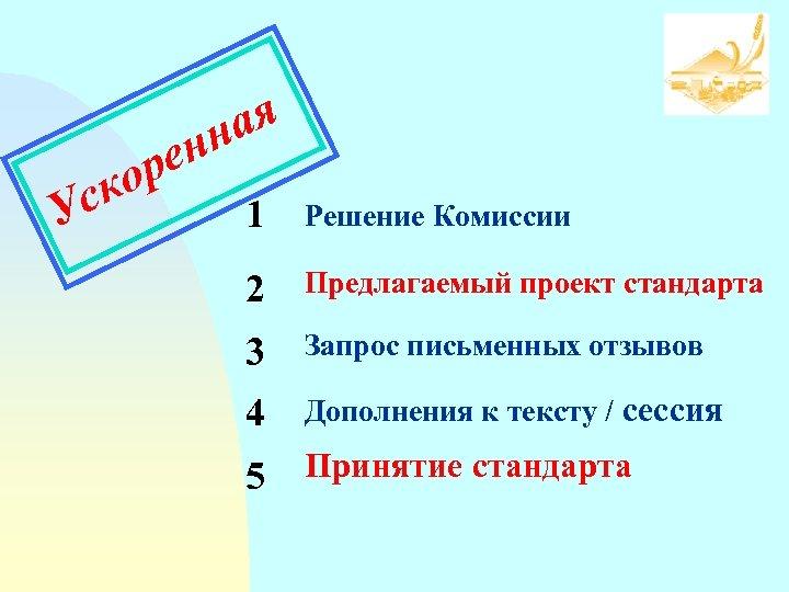 ор ск У ая нн е 1 Решение Комиссии 2 Предлагаемый проект стандарта 3