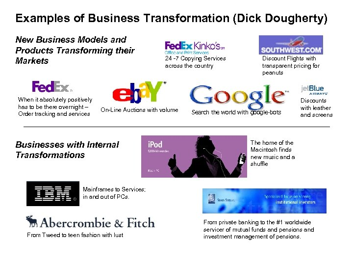 Examples of Business Transformation (Dick Dougherty) New Business Models and Products Transforming their Markets