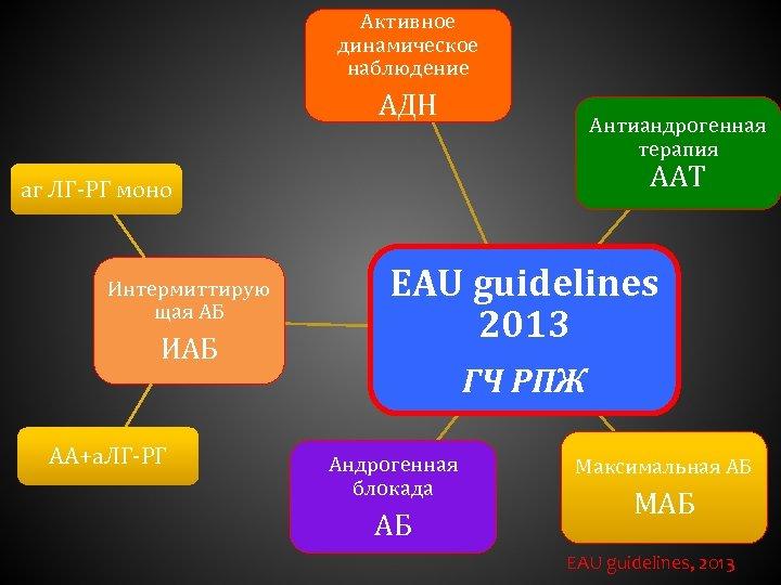 Активное динамическое наблюдение АДН Антиандрогенная терапия ААТ аг ЛГ-РГ моно Интермиттирую щая АБ ИАБ
