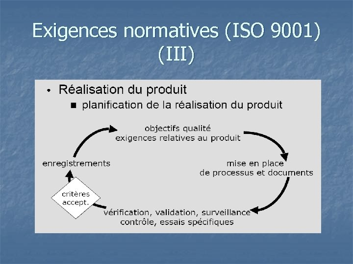 Exigences normatives (ISO 9001) (III)