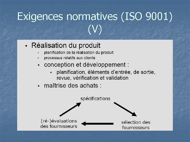 Exigences normatives (ISO 9001) (V)