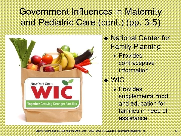 Government Influences in Maternity and Pediatric Care (cont. ) (pp. 3 -5) National Center