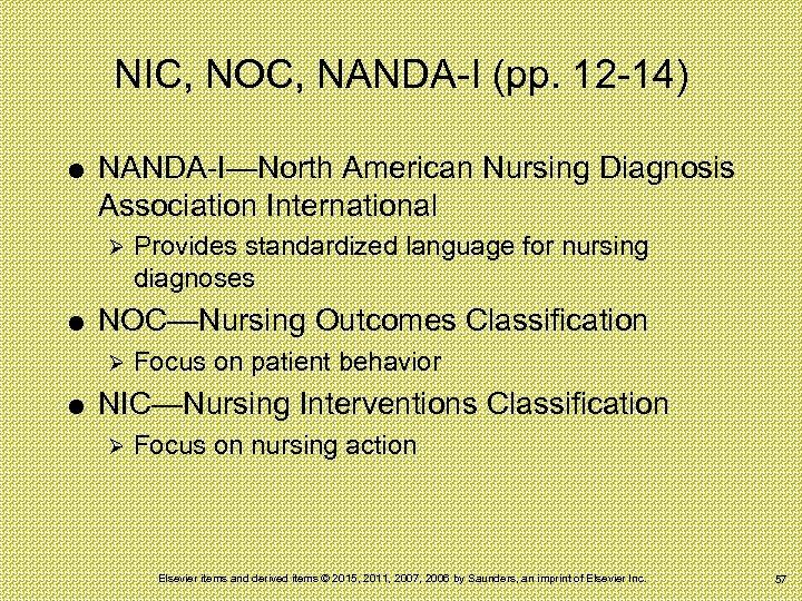 NIC, NOC, NANDA-I (pp. 12 -14) NANDA-I—North American Nursing Diagnosis Association International Ø NOC—Nursing
