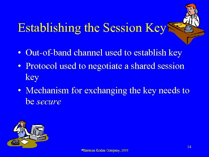 Establishing the Session Key • Out-of-band channel used to establish key • Protocol used