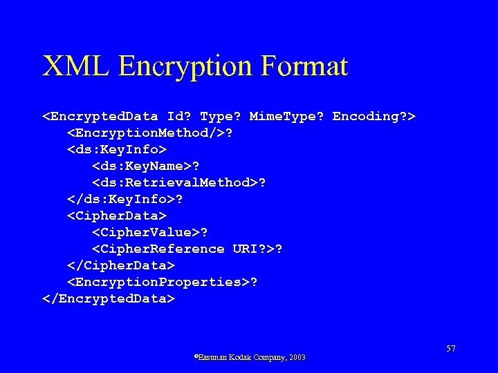 XML Encryption Format <Encrypted. Data Id? Type? Mime. Type? Encoding? > <Encryption. Method/>? <ds: