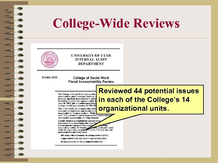 College-Wide Reviews Reviewed 44 potential issues in each of the College's 14 organizational units.
