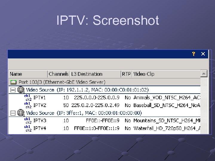 IPTV: Screenshot