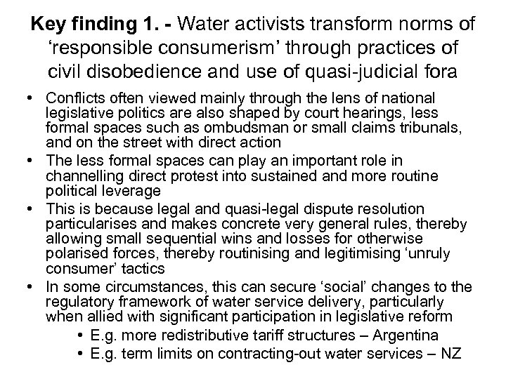 Key finding 1. - Water activists transform norms of 'responsible consumerism' through practices of