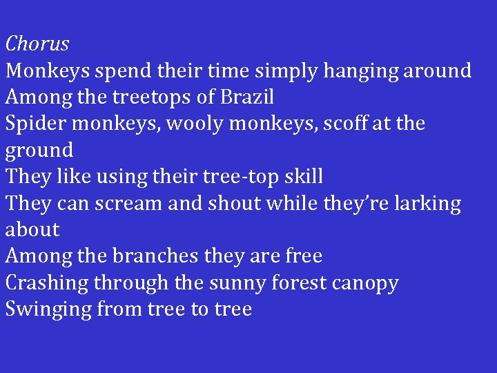 Chorus Monkeys spend their time simply hanging around Among the treetops of Brazil