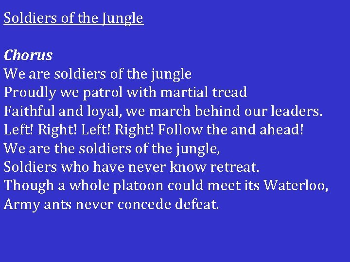 Soldiers of the Jungle Chorus We are soldiers of the jungle Proudly we patrol