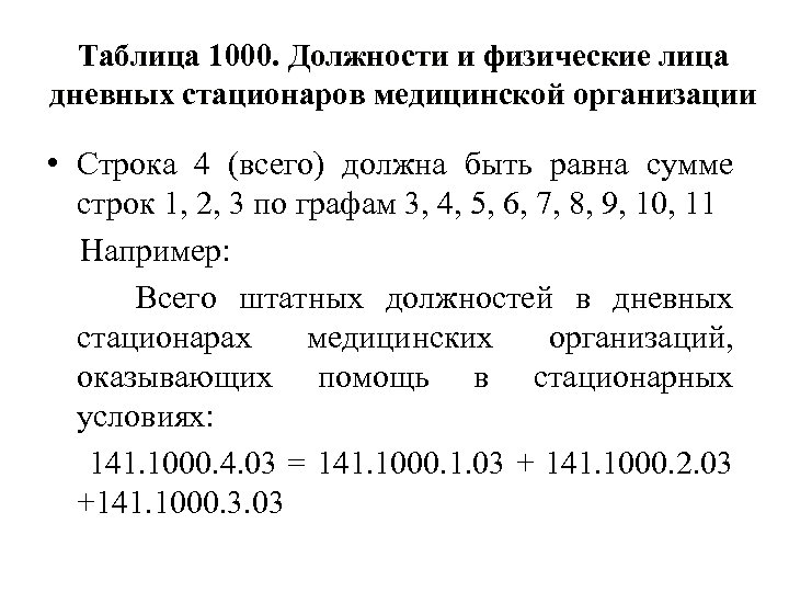 Таблица 1000. Должности и физические лица дневных стационаров медицинской организации • Строка 4 (всего)