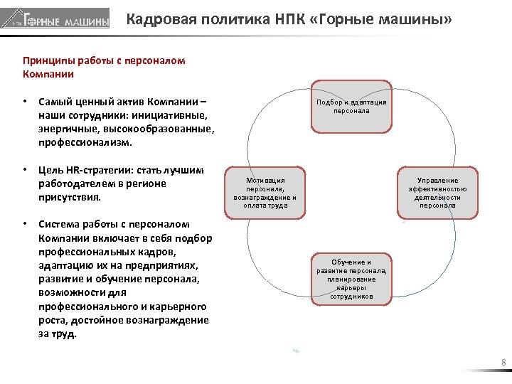 Кадровая политика НПК «Горные машины» Принципы работы с персоналом Компании • Самый ценный актив