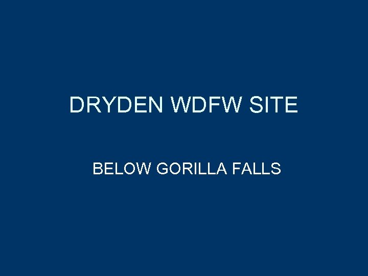 DRYDEN WDFW SITE BELOW GORILLA FALLS