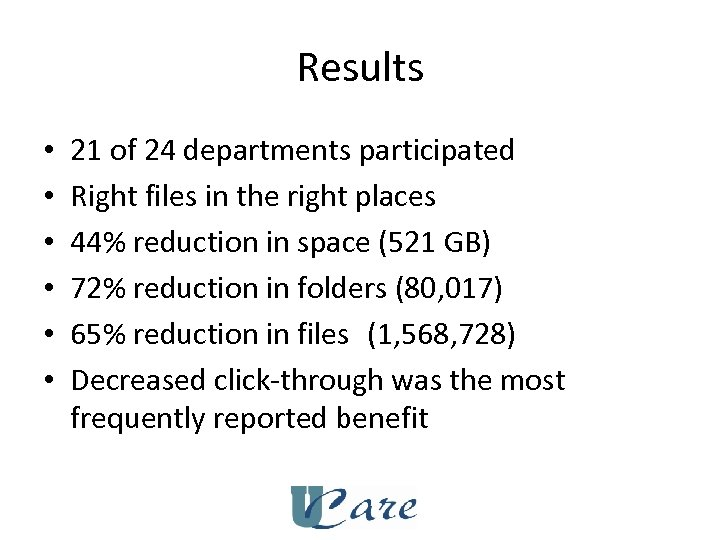 Results • • • 21 of 24 departments participated Right files in the right