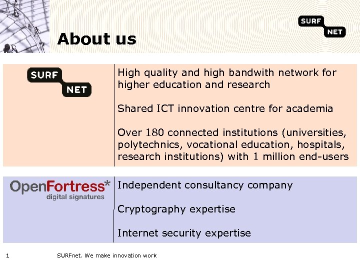 About us High quality and high bandwith network for higher education and research Shared