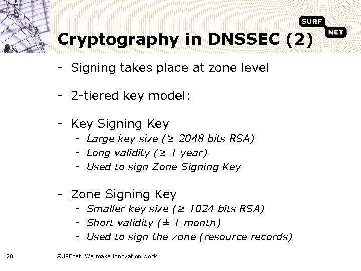 Cryptography in DNSSEC (2) - Signing takes place at zone level - 2 -tiered