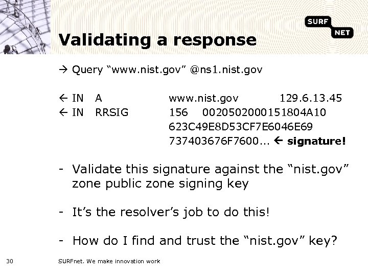 """Validating a response Query """"www. nist. gov"""" @ns 1. nist. gov ß IN A"""