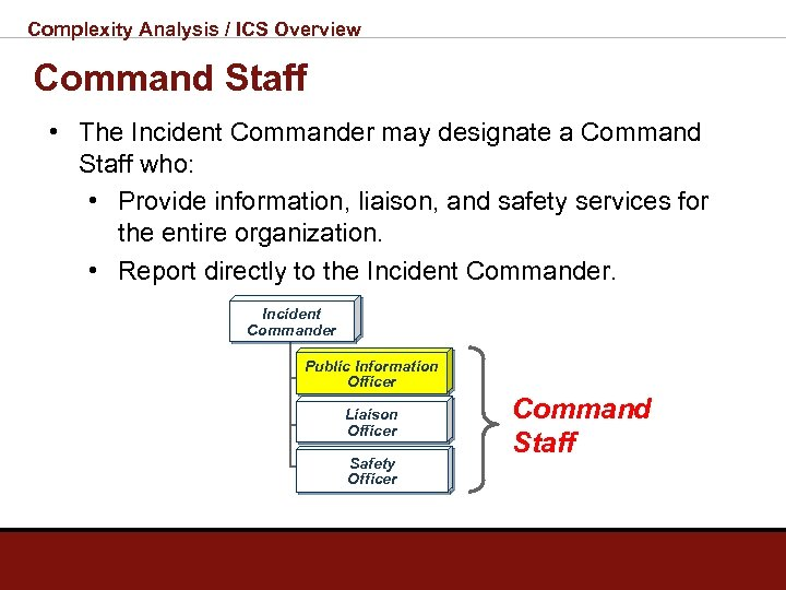 Complexity Analysis / ICS Overview Command Staff • The Incident Commander may designate a