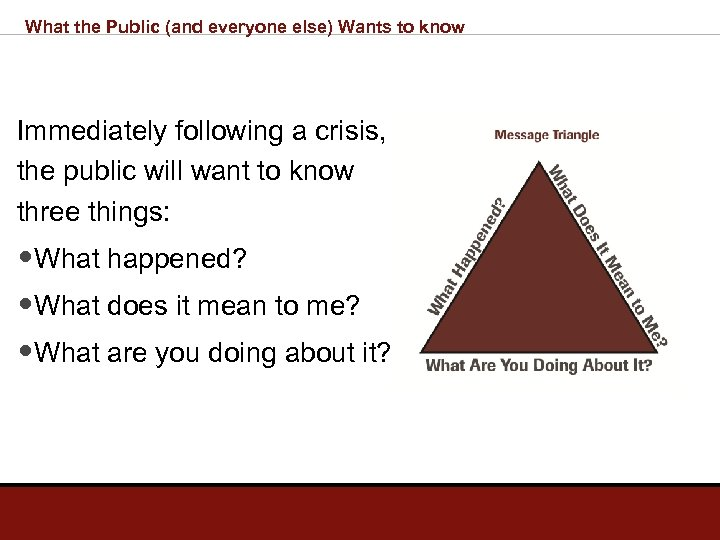What the Public (and everyone else) Wants to know Immediately following a crisis, the