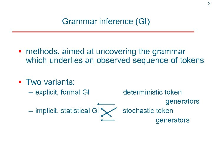 2 Grammar inference (GI) § methods, aimed at uncovering the grammar which underlies an
