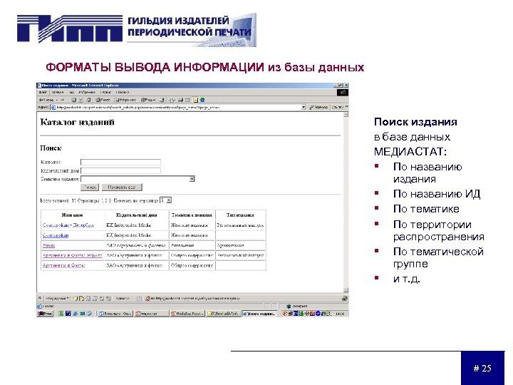 ФОРМАТЫ ВЫВОДА ИНФОРМАЦИИ из базы данных Поиск издания в базе данных МЕДИАСТАТ: § По
