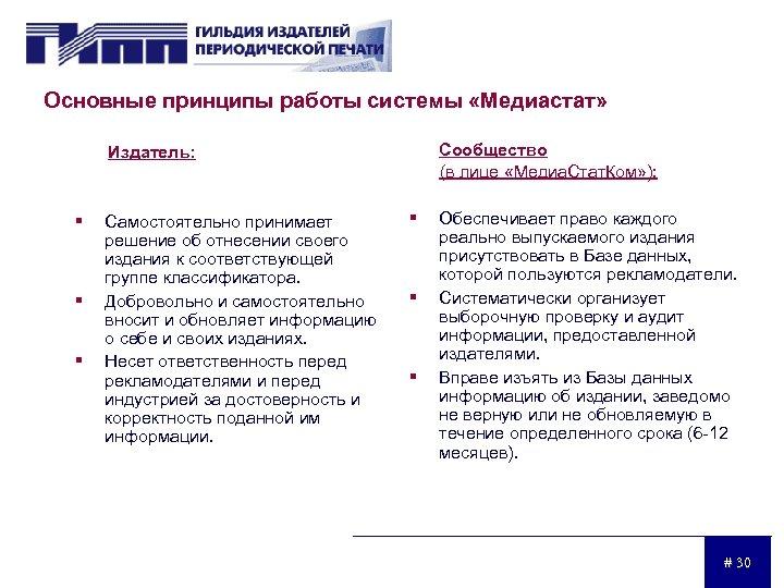 Основные принципы работы системы «Медиастат» Сообщество (в лице «Медиа. Стат. Ком» ): Издатель: §