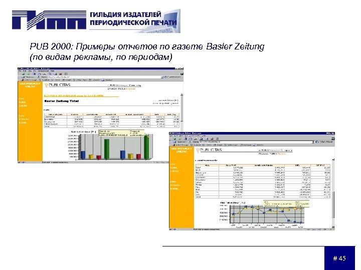 PUB 2000: Примеры отчетов по газете Basler Zeitung (по видам рекламы, по периодам) #
