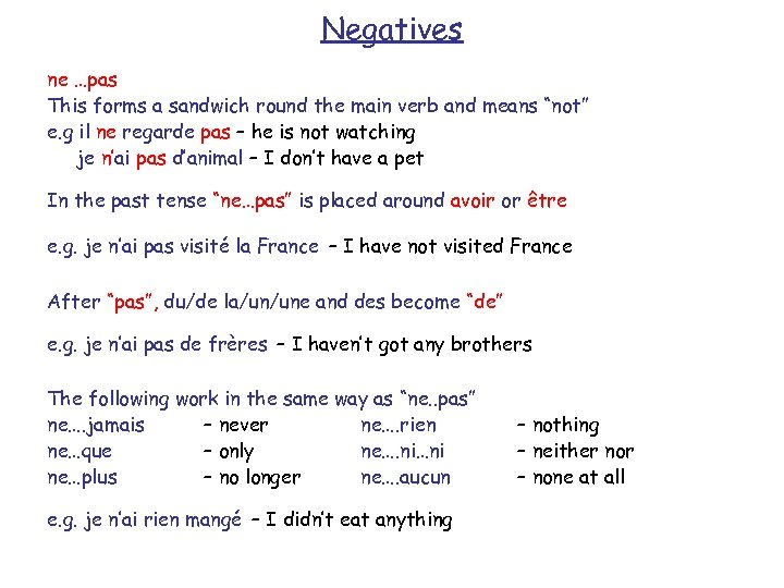 """Negatives ne …pas This forms a sandwich round the main verb and means """"not"""""""