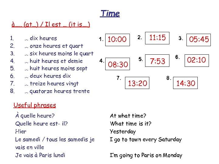 Time à…. . (at…) / Il est … (it is…. ) 1. 2. 3.