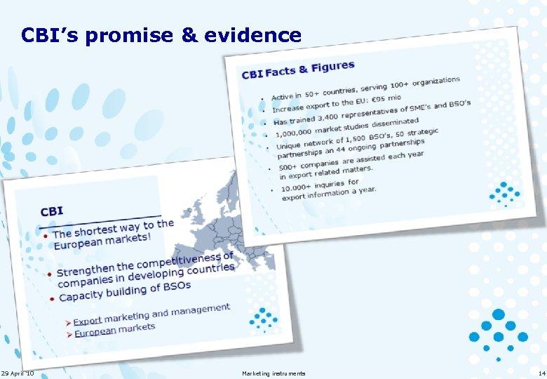 CBI's promise & evidence 29 April '10 Marketing instruments 14