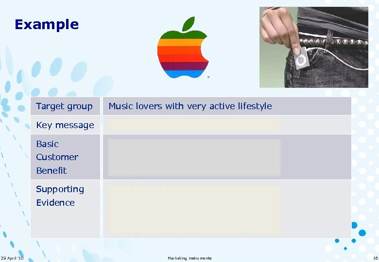 Example Target group Music lovers with very active lifestyle Key message 5. 000 songs