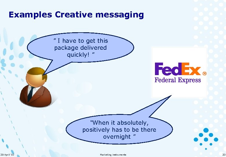 Examples Creative messaging