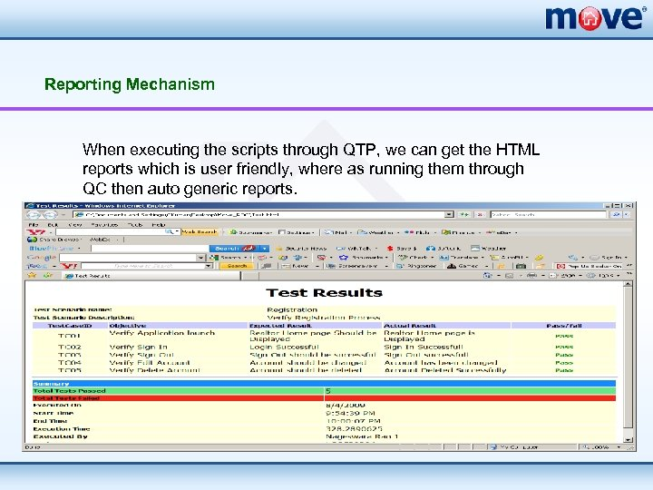 Reporting Mechanism When executing the scripts through QTP, we can get the HTML reports