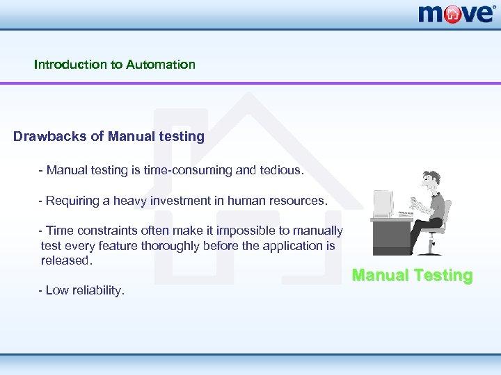 Introduction to Automation Drawbacks of Manual testing - Manual testing is time-consuming and tedious.