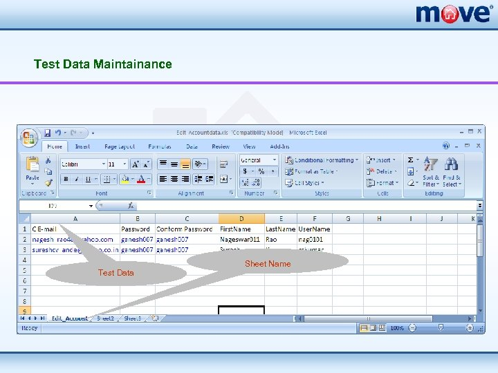 Test Data Maintainance Test Data Sheet Name