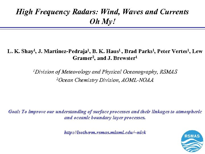 High Frequency Radars: Wind, Waves and Currents Oh My! L. K. Shay 1, J.