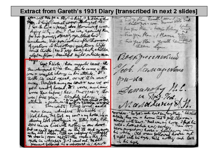 Extract from Gareth's 1931 Diary [transcribed in next 2 slides]