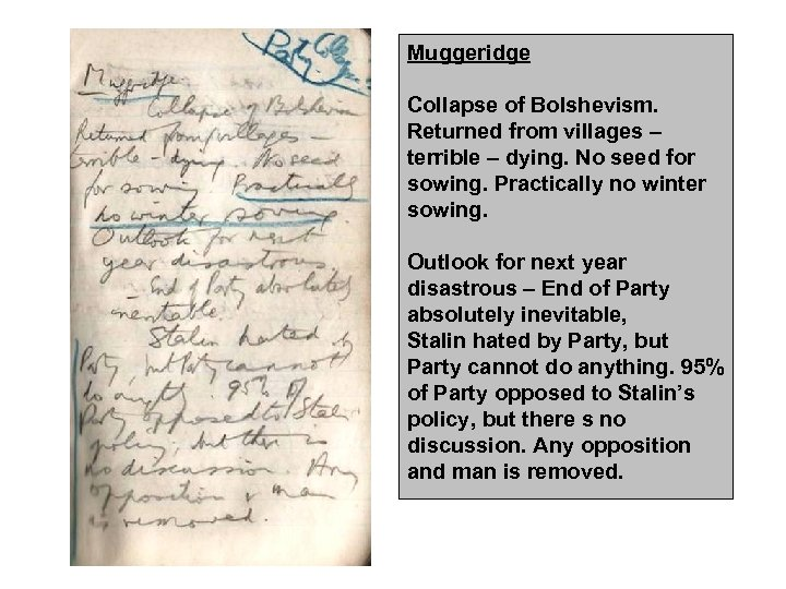 Muggeridge Collapse of Bolshevism. Returned from villages – terrible – dying. No seed for