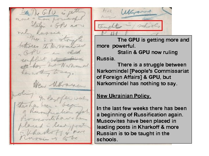 The GPU is getting more and more powerful. Stalin & GPU now ruling Russia.