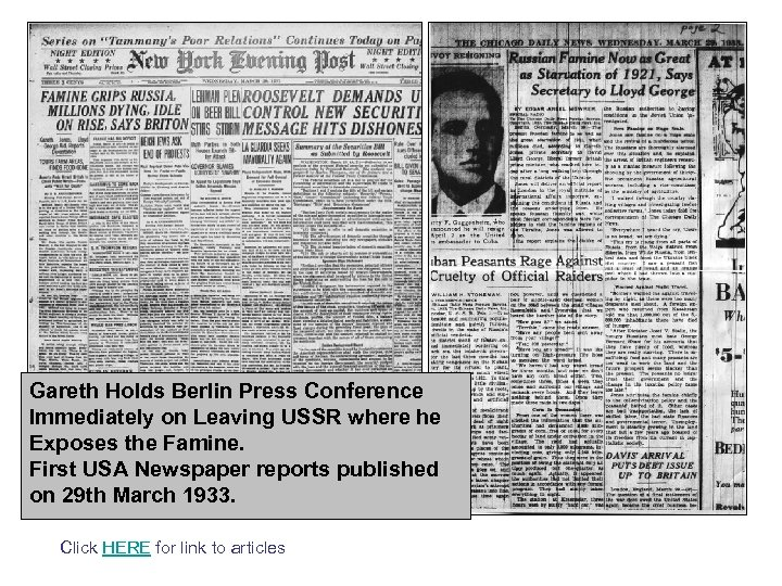 Gareth Holds Berlin Press Conference Immediately on Leaving USSR where he Exposes the Famine.