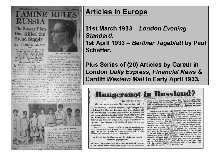 Articles In Europe 31 st March 1933 – London Evening Standard. 1 st April