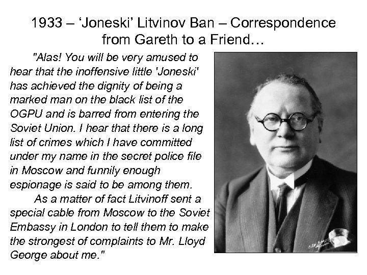 1933 – 'Joneski' Litvinov Ban – Correspondence from Gareth to a Friend…