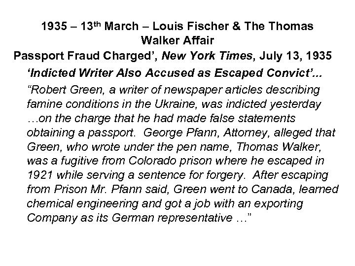 1935 – 13 th March – Louis Fischer & The Thomas Walker Affair Passport