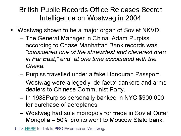 British Public Records Office Releases Secret Intelligence on Wostwag in 2004 • Wostwag shown