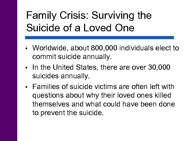 Family Crisis: Surviving the Suicide of a Loved One Worldwide, about 800, 000 individuals