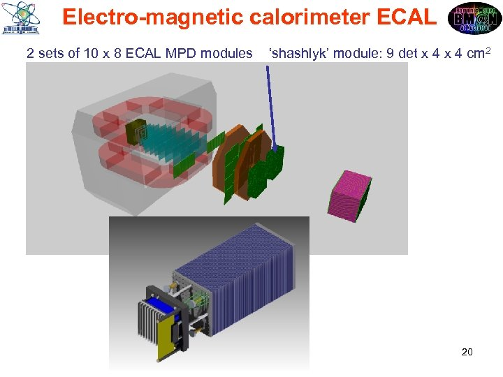 Electro-magnetic calorimeter ECAL 2 sets of 10 x 8 ECAL MPD modules 'shashlyk' module: