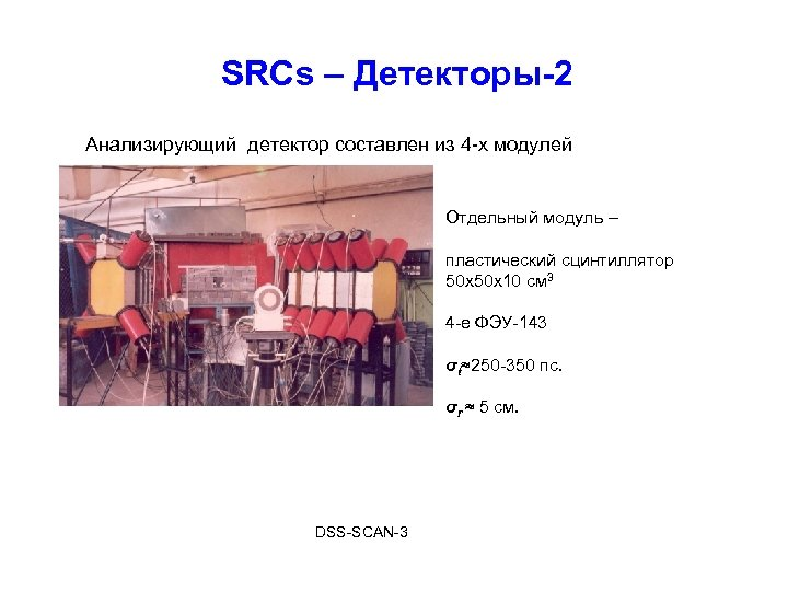 SRCs – Детекторы-2 Анализирующий детектор составлен из 4 -х модулей Отдельный модуль – пластический
