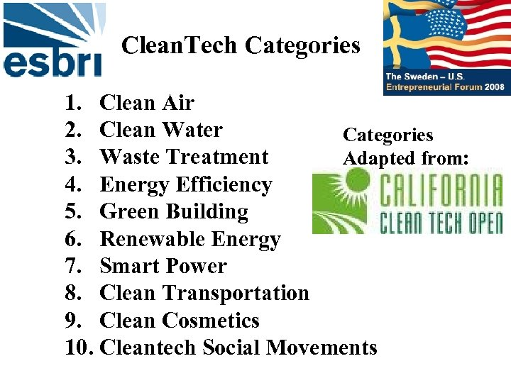 Clean. Tech Categories 1. Clean Air 2. Clean Water Categories 3. Waste Treatment Adapted